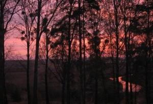 Atrakcje Olsztyn widok zorza nad rzeką Łyną