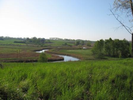 Hotel Olsztyn Noclegi tanio Łyna widok z posesji na pola i łąki z rzeką.