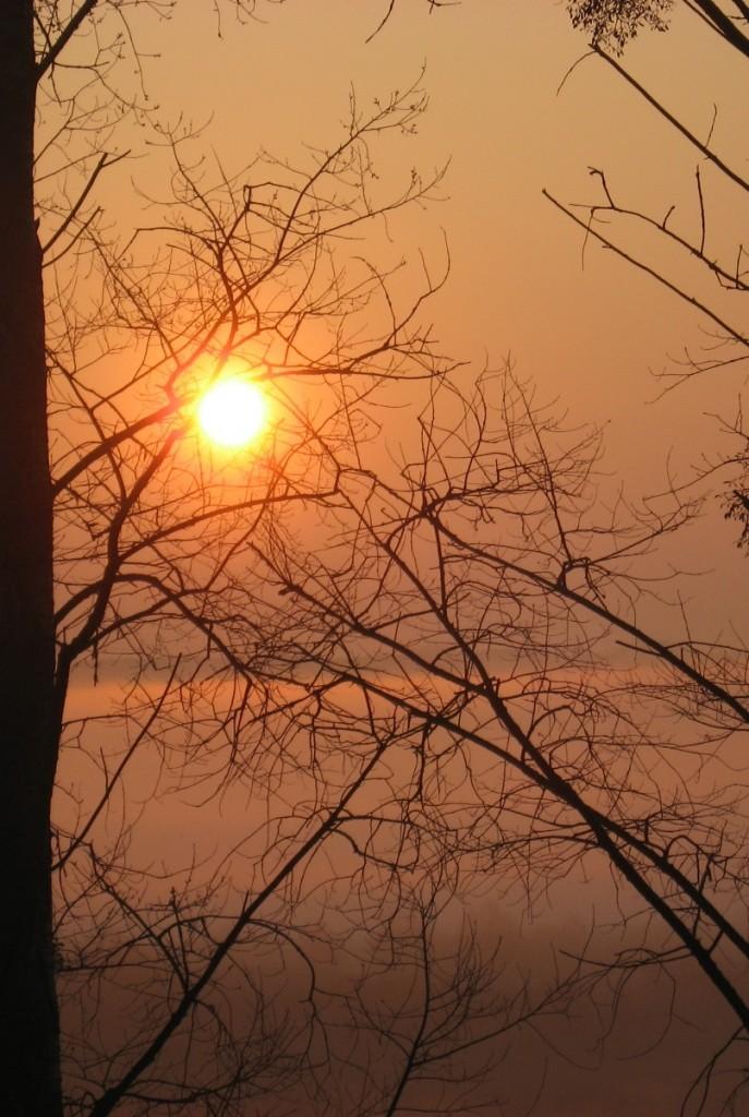SAK Olsztyn wschód słońca nad doliną rzeki Łyny.